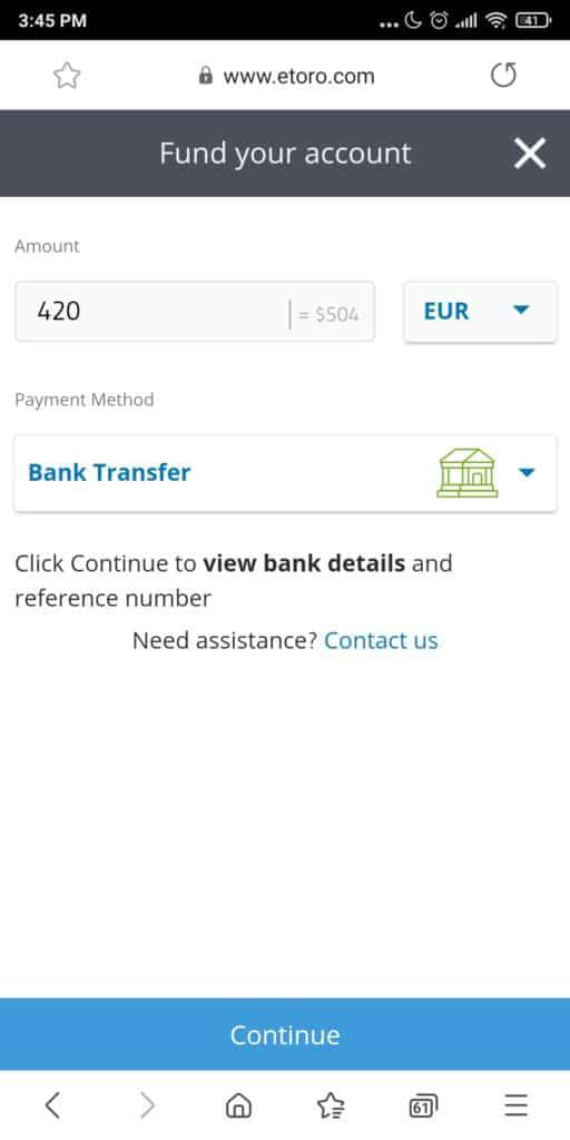 eToro deposit screen